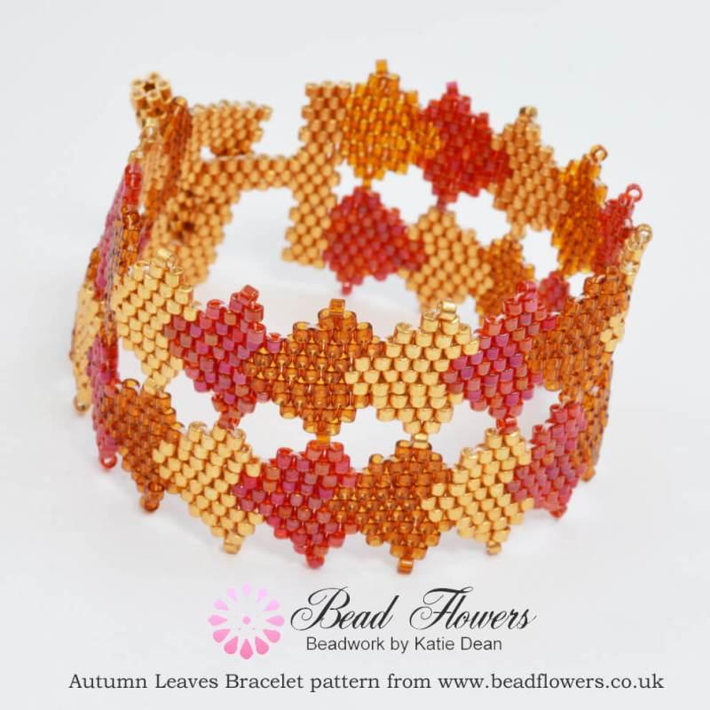 Beaded Autumn Leaves Bracelet Pattern, Katie Dean, Beadflowers