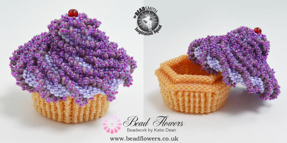Cupcake Beaded Box Pattern, Katie Dean, Beadflowers