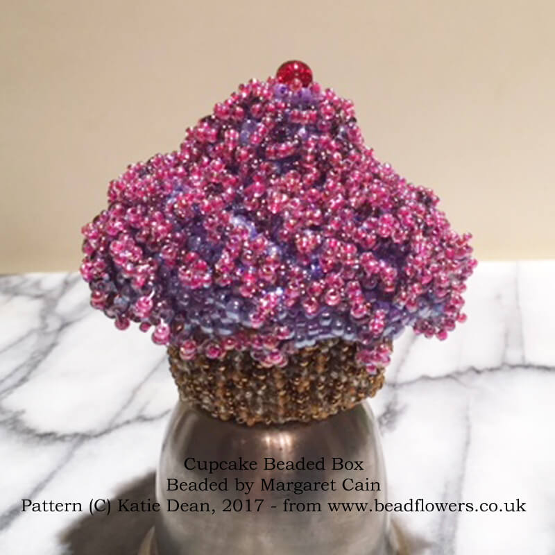 Cupcake Beaded Box, Pattern by Katie Dean, beaded by Margaret Cain