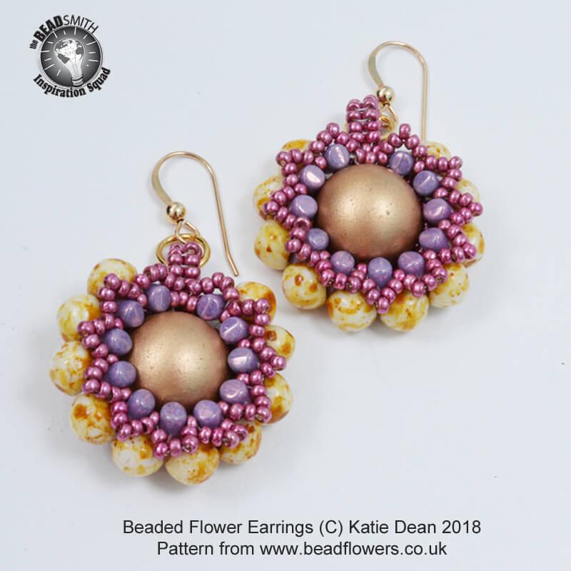 Beaded Flower Earrings Pattern, Katie Dean, Beadflowers