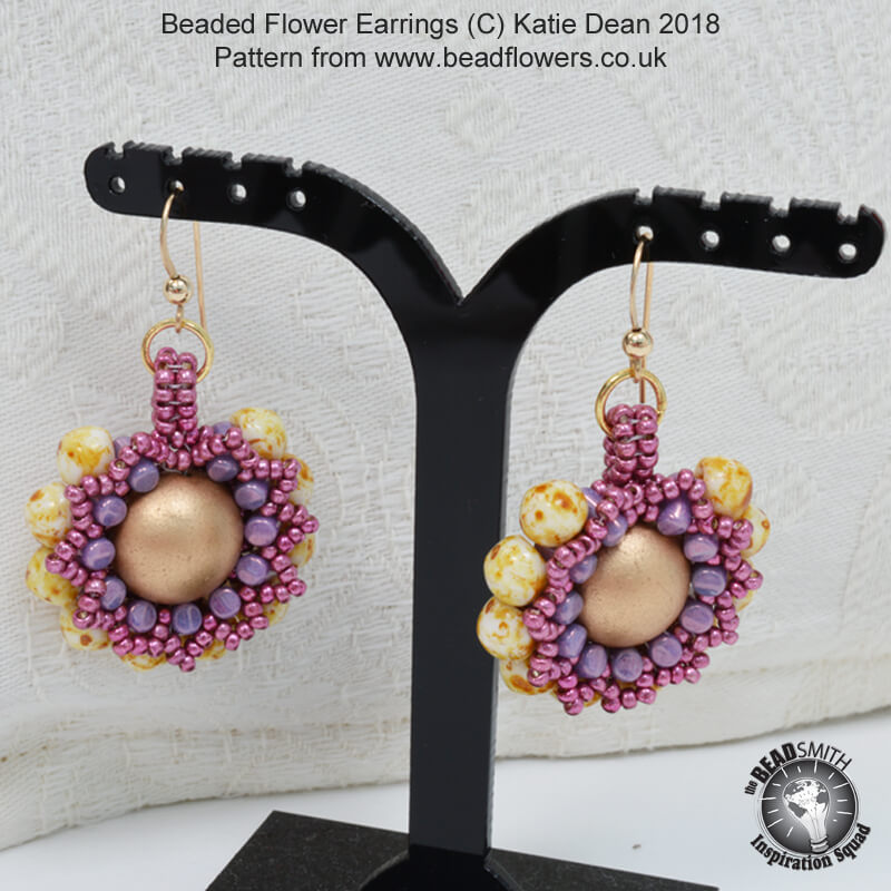 Beaded Flower Earrings Pattern, Katie Dean, Beadflowers