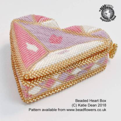 Beaded Heart Box Pattern, Katie Dean, Beadflowers