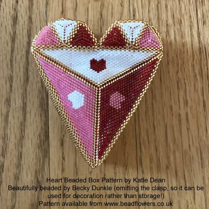 Heart Beaded Box Pattern, Katie Dean, Beadflowers, Beaded by Becky Dunkle