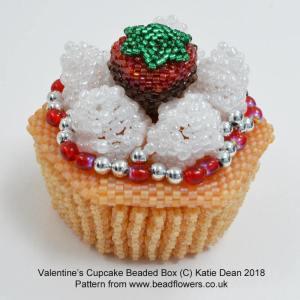Valentines Cupcake Beaded Box Pattern, Katie Dean, Beadflowers