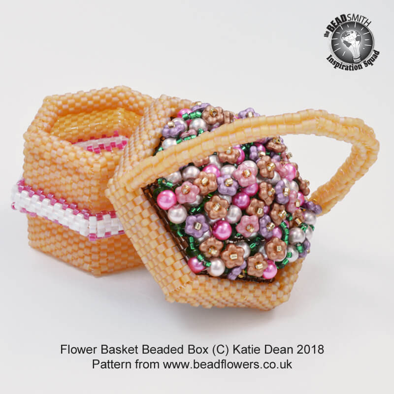 Flower basket beaded box pattern, Katie Dean, Beadflowers