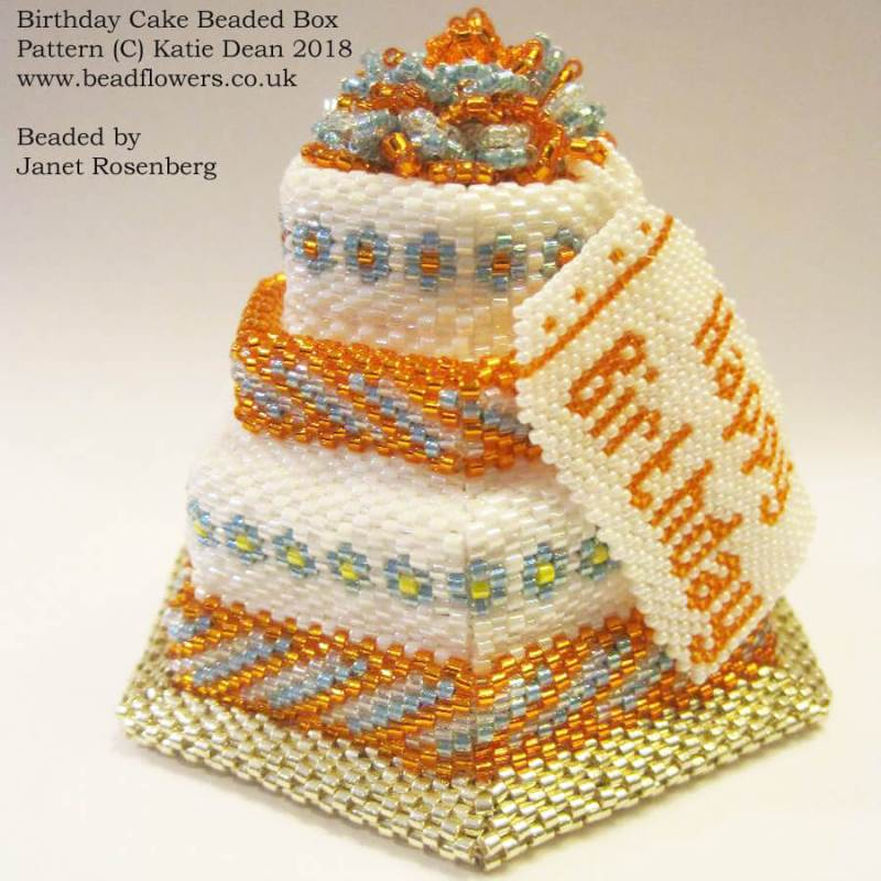 Birthday Cake Beaded Box Pattern by Katie Dean, beaded by Janet Rosenberg