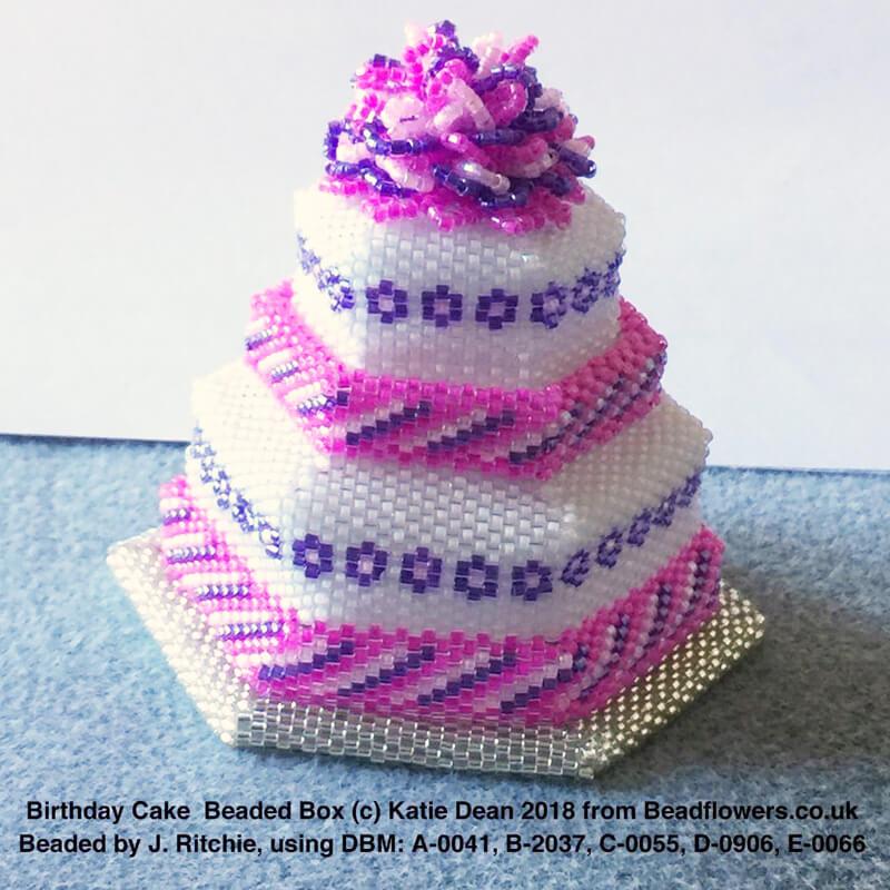 Birthday cake beaded box, Joan Ritchie, Katie Dean, Beadflowers