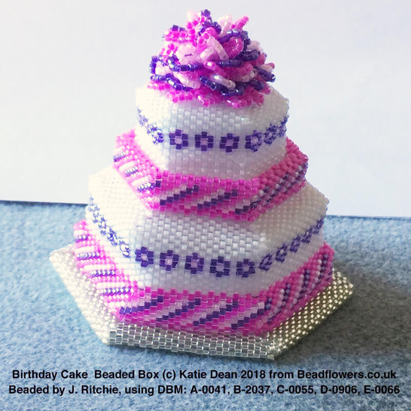 Birthday cake beaded box, Joan Ritchie, Katie Dean, Beadflowers