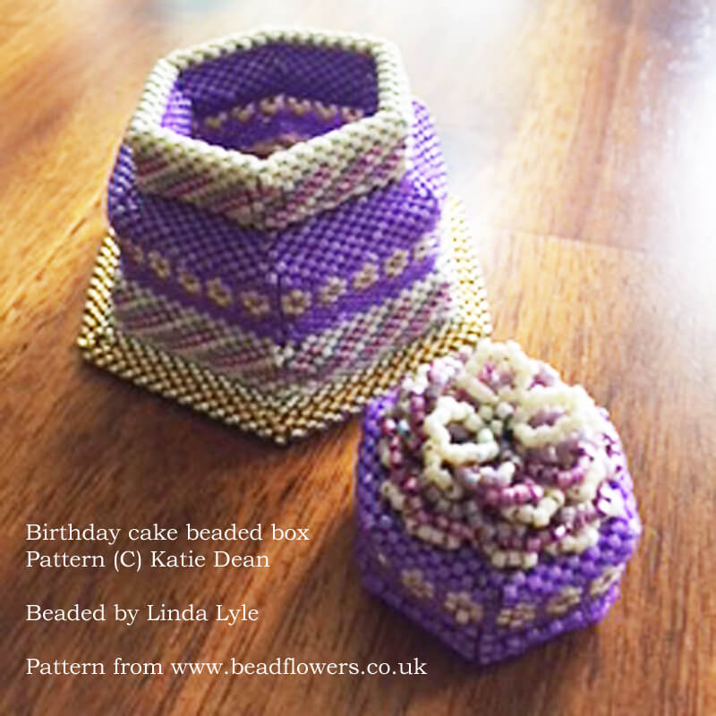 Birthday cake beaded box pattern, Katie Dean, Beadflowers