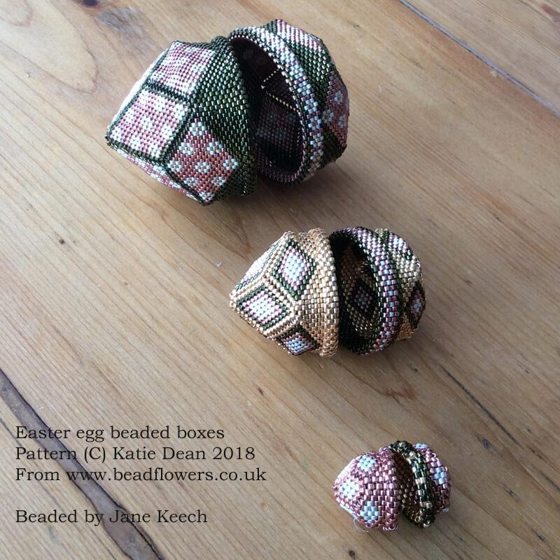 Easter egg beaded boxes pattern by Katie Dean, Beadflowers, beaded by Jane Keech