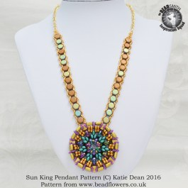Sun King Pendant Pattern, Katie Dean, Beadflowers