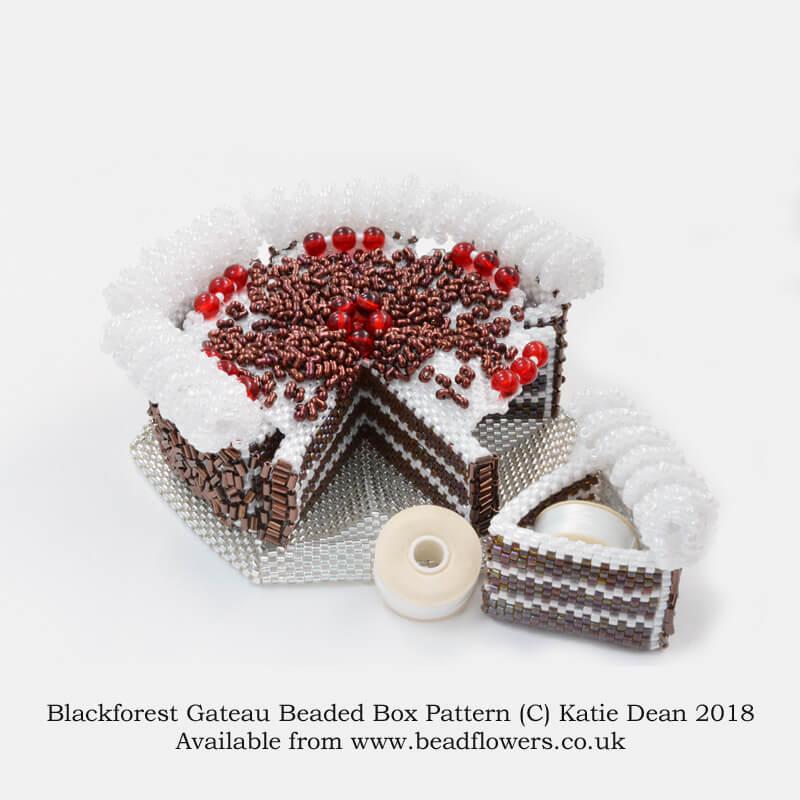 Blackforest Gateau Beaded Box Kit and Pattern, Katie Dean, Beadflowers