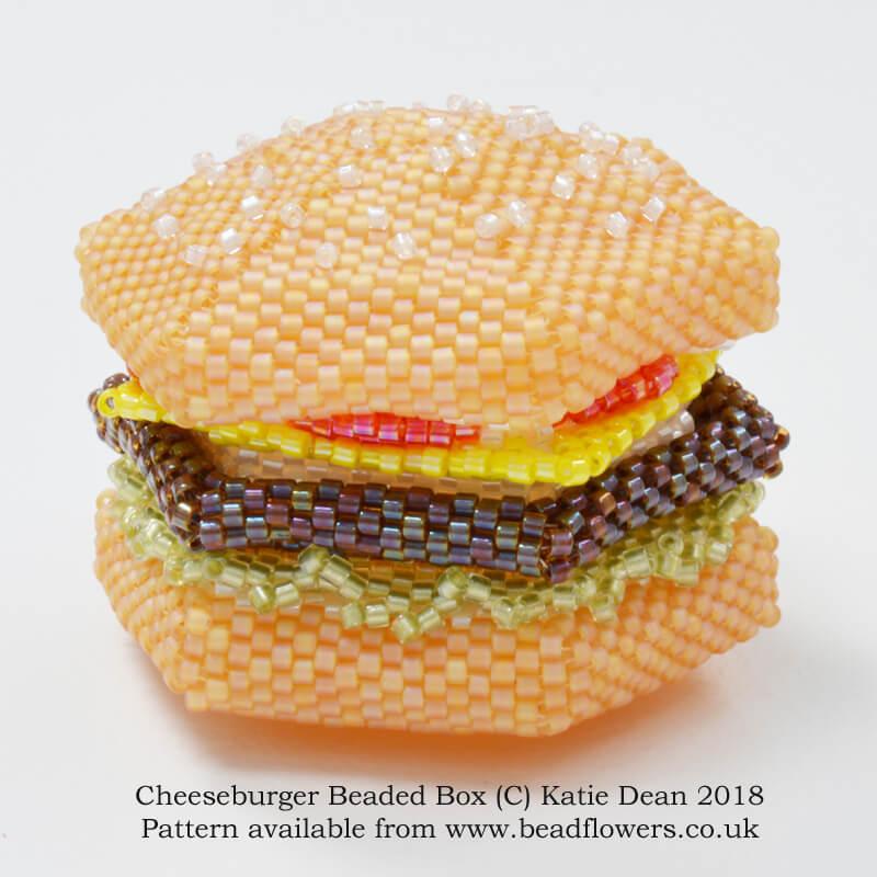 Cheeseburger Beaded Box Pattern, Cheeseburger Beaded Box Kit, beaded food projects, Katie Dean, Beadflowers