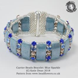 Carrier Beads Bracelet:Blue Sparkle Pattern, Katie Dean, Beadflowers