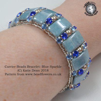 Carrier Beads Bracelet:Blue Sparkle Pattern, Katie Dean, Beadflowers