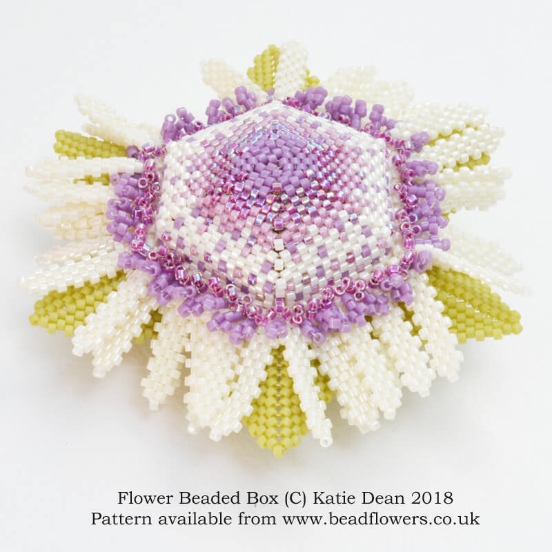 Flower Beaded Box Pattern, Katie Dean, Beadflowers