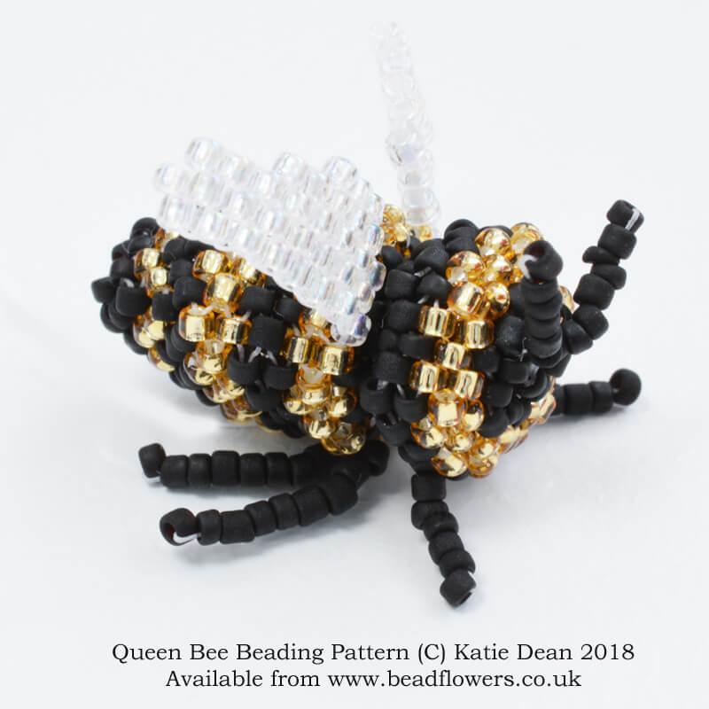 Queen bee beading pattern, Katie Dean, beadflowers