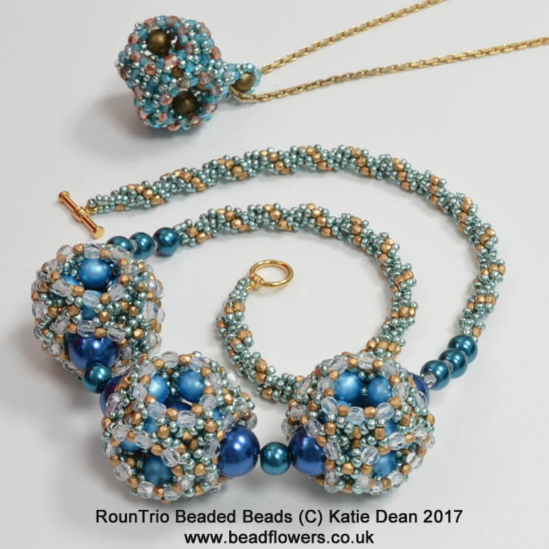 RounTrio Beaded Beads Pattern, Katie Dean, Beadflowers