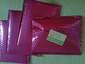 Green beads - pink envelope packaging, Think Planet, Katie Dean, Beadflowers