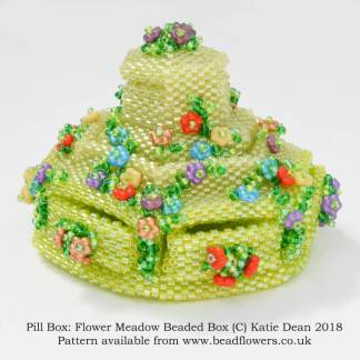 Pill Box: Meadow Beaded Box Pattern, Katie Dean, Beadflowers