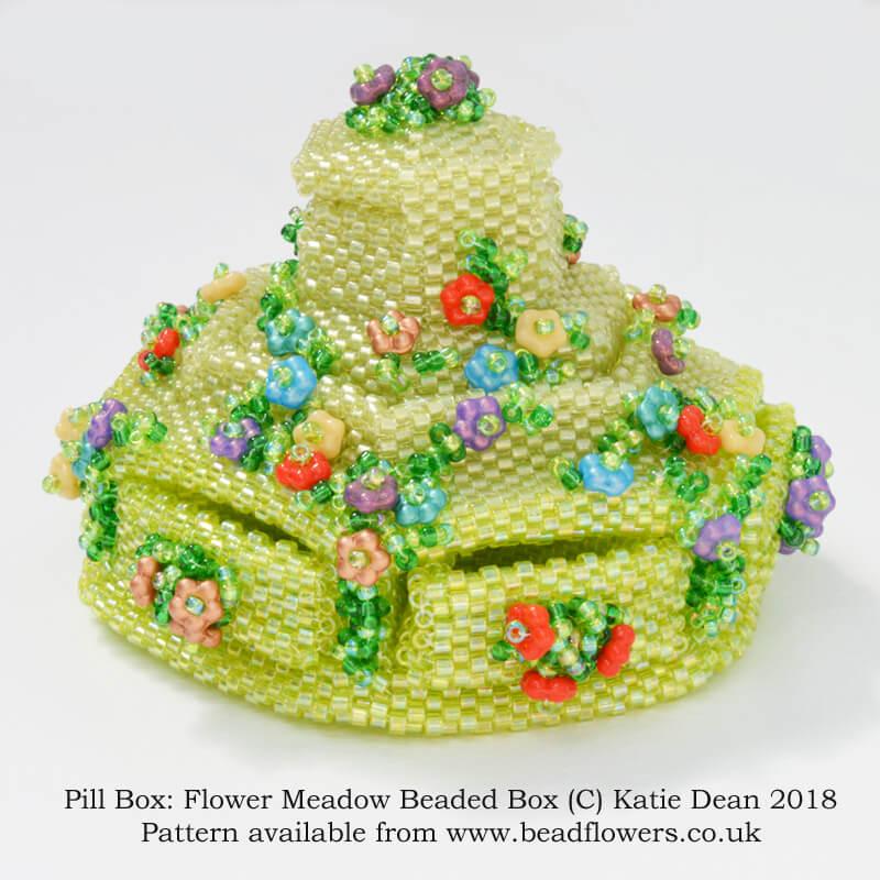 Pill Box: Meadow Beaded Box Pattern, Katie Dean, Beadflowers