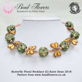 Butterfly Floral Beaded Necklace Pattern, Katie Dean, Beadflowers