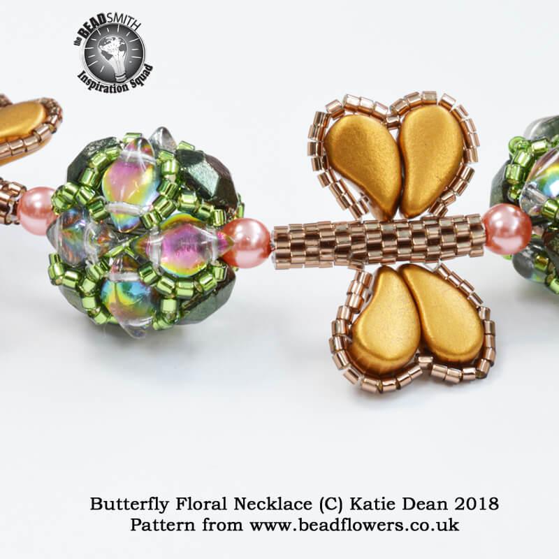 Butterfly Floral Beaded Necklace Pattern, Katie Dean, Beadflowers