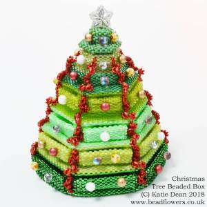 Christmas tree beaded box kit and pattern, Katie Dean, Beadflowers