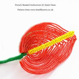 French beaded Anthurium Pattern, Katie Dean, Beadflowers