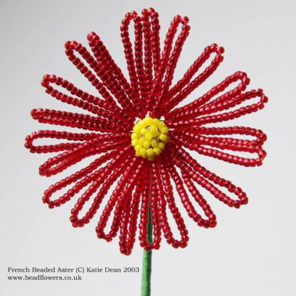 French beaded Aster tutorial, Pattern by Katie Dean, Beadflowers