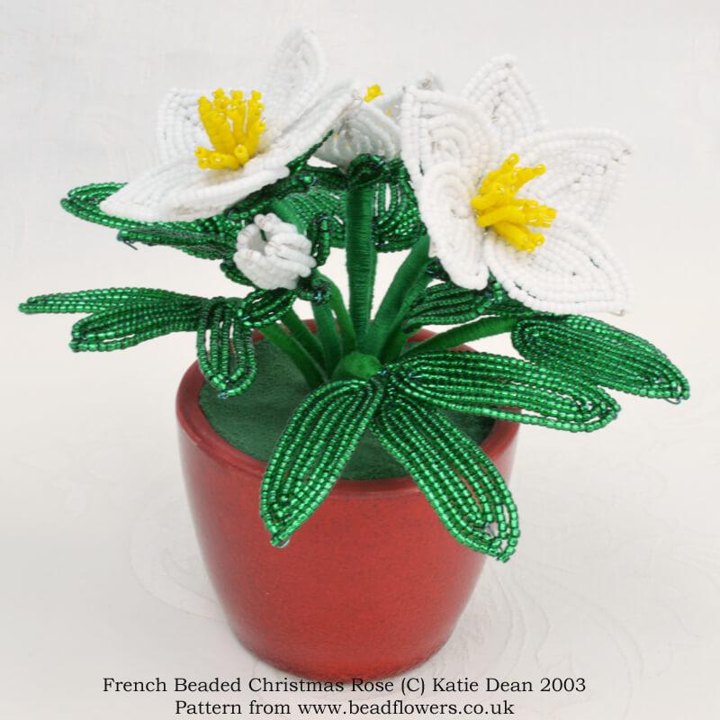 French beaded Christmas rose pattern, Katie Dean, Beadflowers