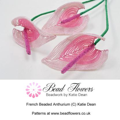 French beaded anthurium, Katie Dean, Beadflowers