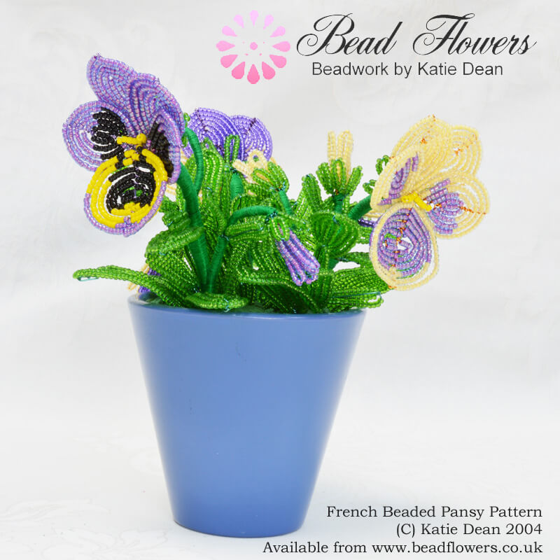 French Beaded Pansy Pattern, Katie Dean, Beadflowers