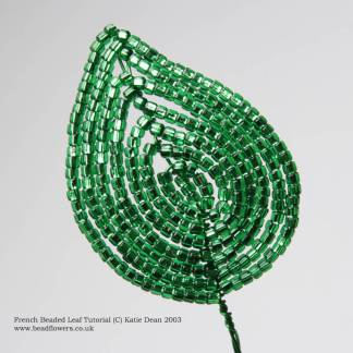 French beaded leaf tutorial, Katie Dean, Beadflowers