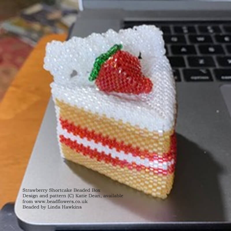 Strawberry shortcake beaded box, pattern by Katie Dean, beaded by Linda Hawkins