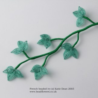 French beaded Ivy Tutorial, Katie Dean, Beadflowers