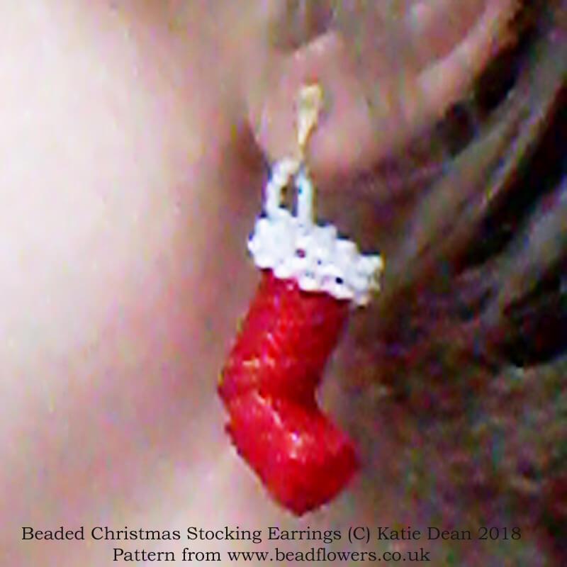 Beaded Christmas Stocking Pattern for earrings, Katie Dean, Beadflowers