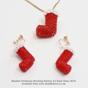 Beaded Christmas Stocking Pattern, Beadflowers, Katie Dean