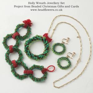 Beaded Christmas wreath earrings, necklace, bracelet, Katie Dean, Beadflowers