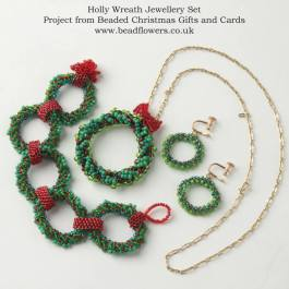 Beaded Christmas wreath earrings, necklace, bracelet, Katie Dean, Beadflowers