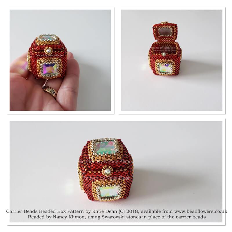 Carrier beads beaded box pattern, Katie Dean, Beadflowers, beaded by Nancy Klimon
