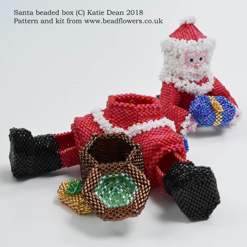 Santa beaded box pattern, Father Christmas beaded box kit, Katie Dean, Beadflowers