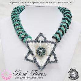 Superduo duets cellini spiral flower necklace pattern, Katie Dean, Beadflowers