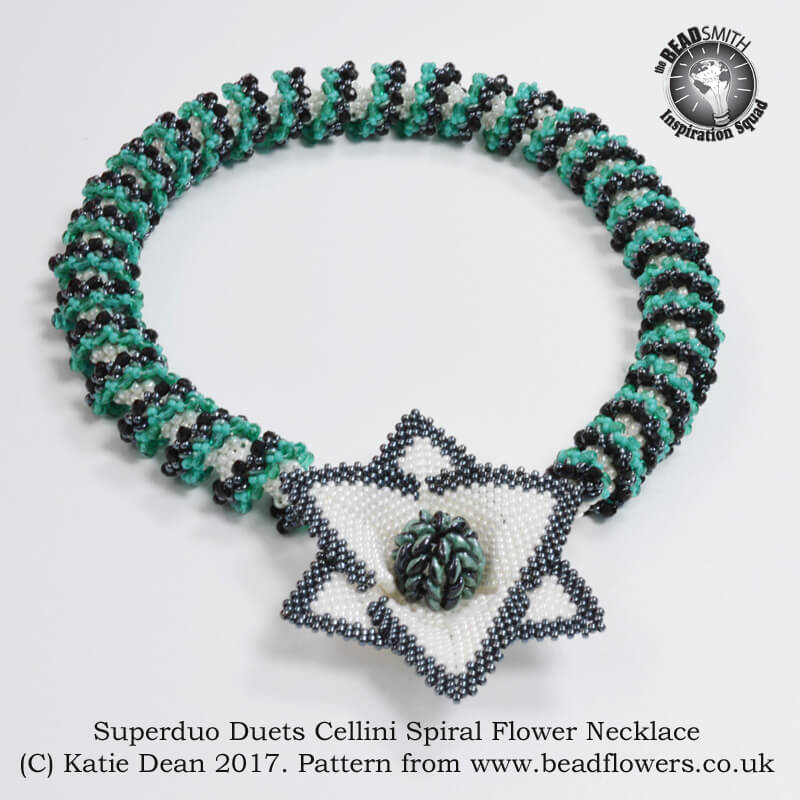 Superduo duets cellini spiral flower necklace pattern, Katie Dean, Beadflowers