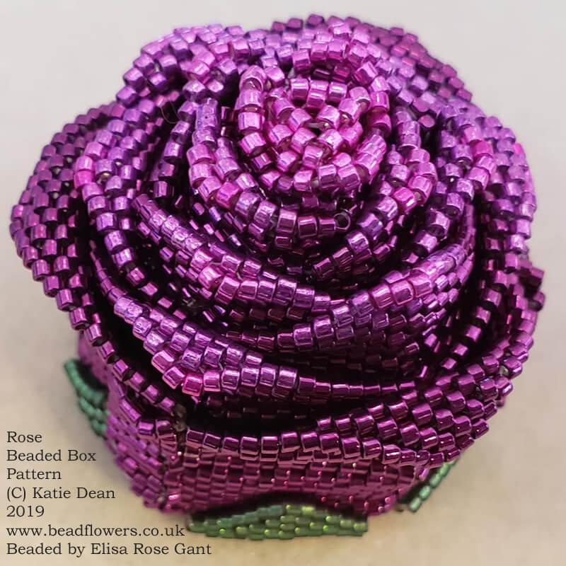 Rose beaded box pattern, Katie Dean, Beadflowers. Beaded by Elisa Rose Gant