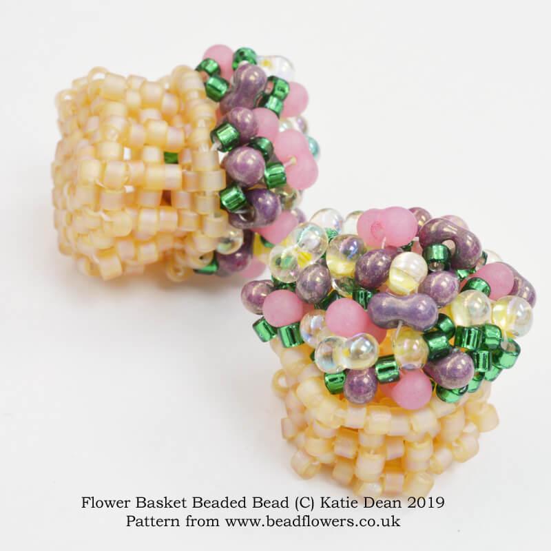 Flower Basket Beaded Bead Pattern, Katie Dean, Beadflowers
