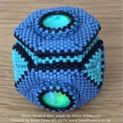 Rivoli beaded box pattern, Katie Dean, Beadflowers, Most popular beading patterns for 2019