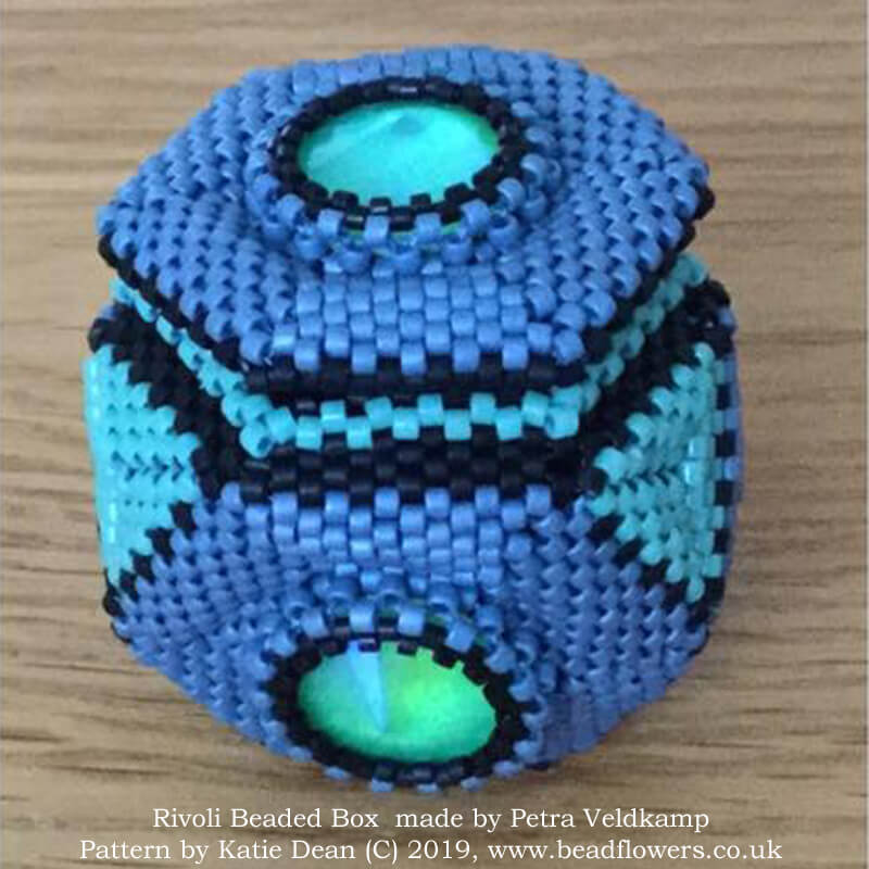Rivoli beaded box pattern, Katie Dean, Beadflowers, Most popular beading patterns for 2019