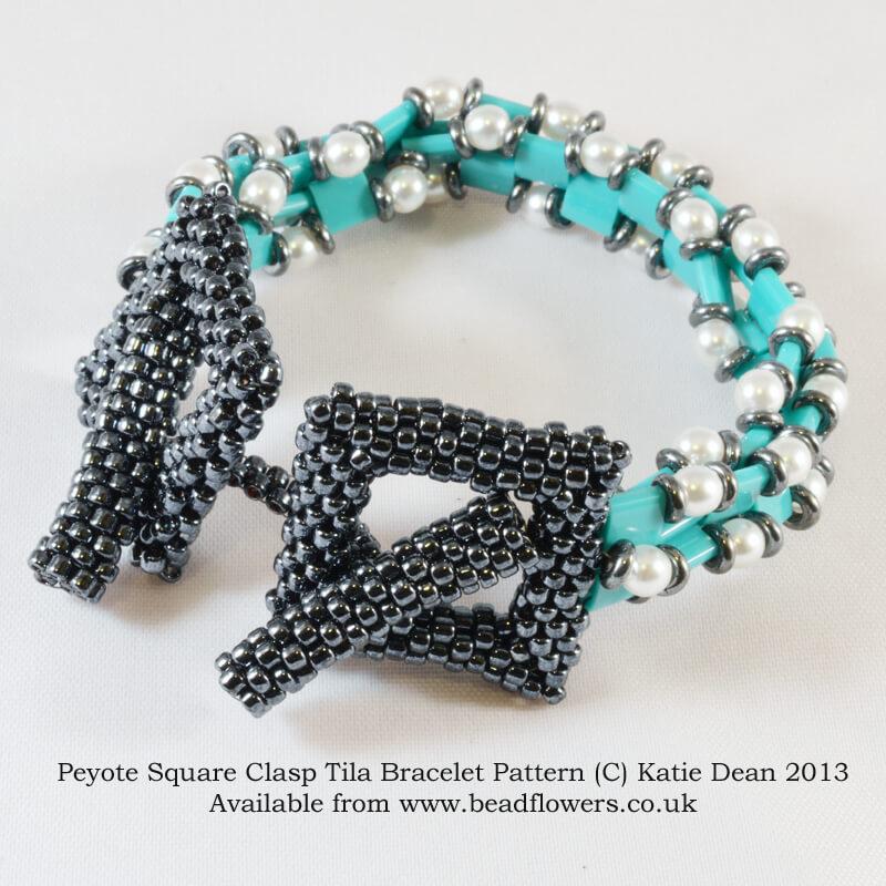 Peyote square clasp tile bracelet pattern by Katie Dean, Beadflowers