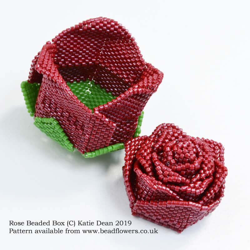 Rose beaded box pattern, Katie Dean, Beadflowers